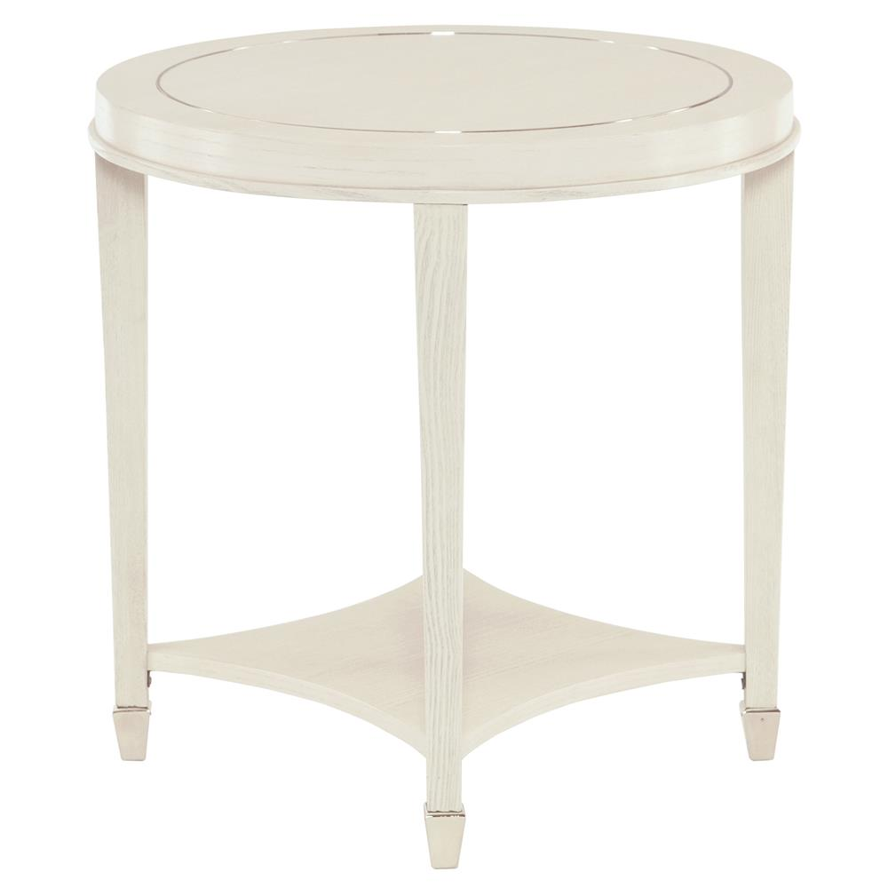 Gretta Polished Ivory Hollywood Regency Inlay Round Side Table
