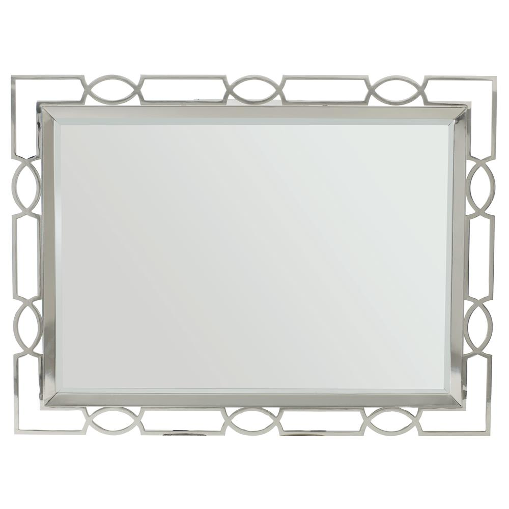 Gretta Radiant Hollywood Regency Polished Nickel Rectangular Mirror Kathy Kuo Home