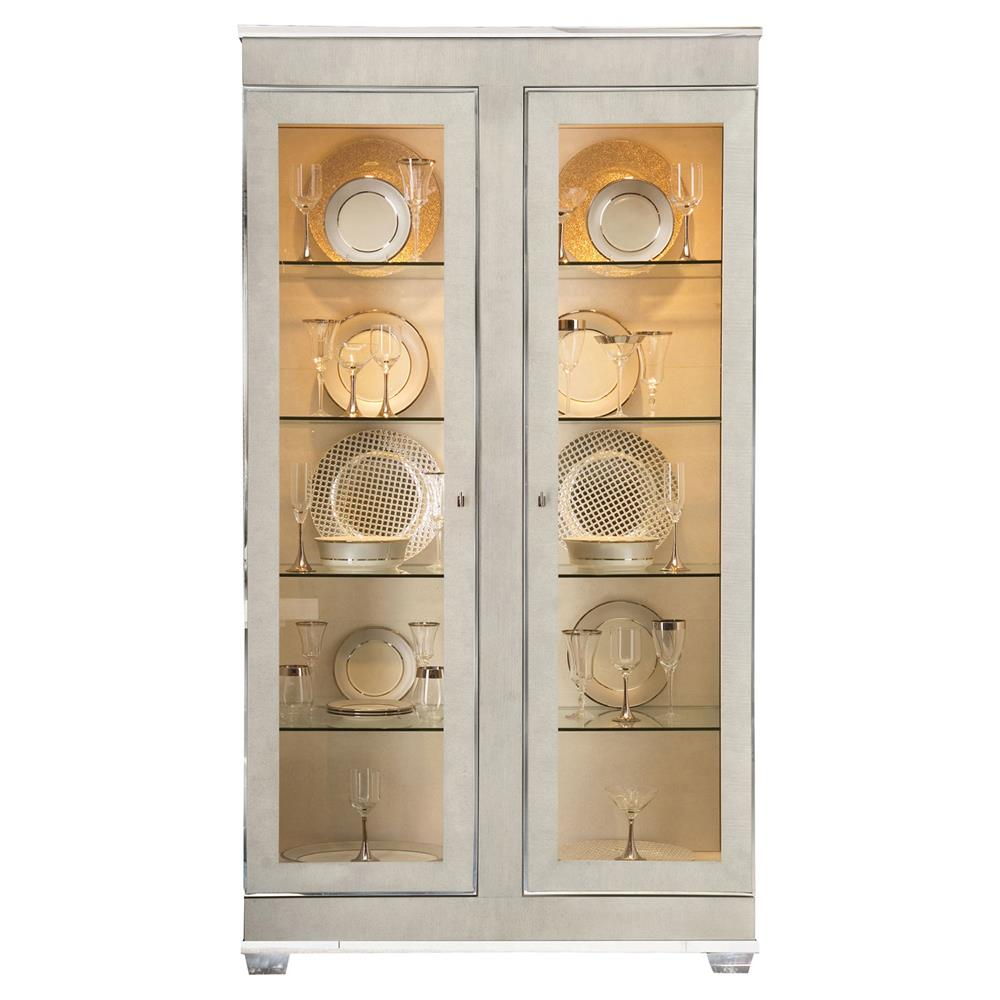 Gretta Grey Regency Polished Glass Front Display Cabinet | Kathy Kuo Home