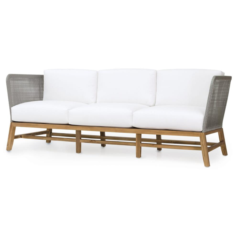 Serena modern grey rope woven teak outdoor sofa salt for Sofa rinconera exterior