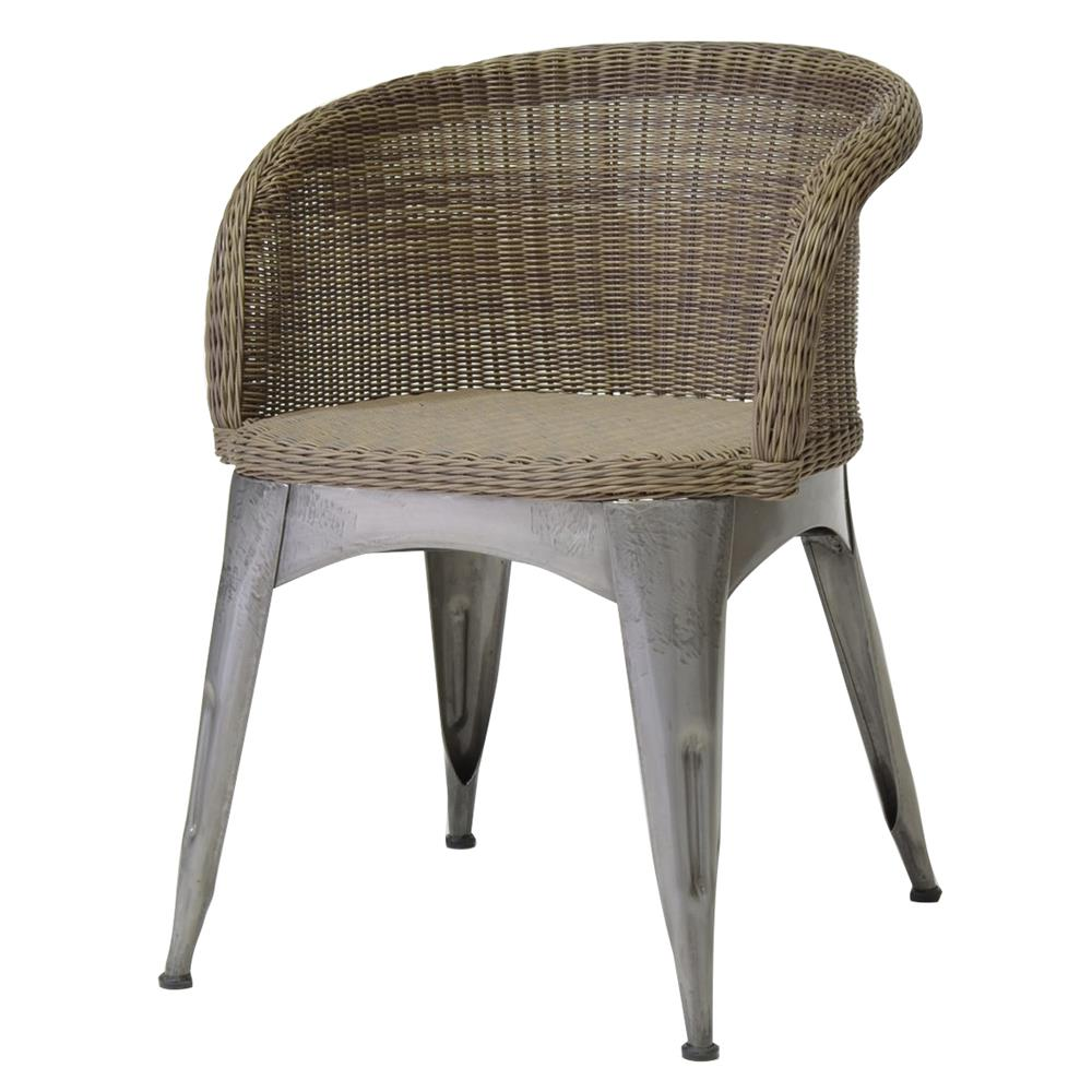 Reznor industrial loft vintage iron wicker arm chair