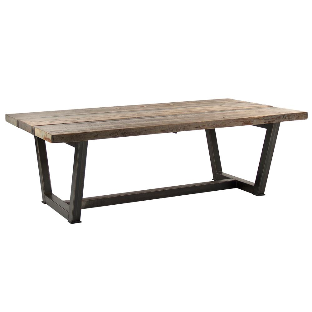 Brock rustic industrial reclaimed wood iron coffee table kathy kuo home Rustic wood and metal coffee table