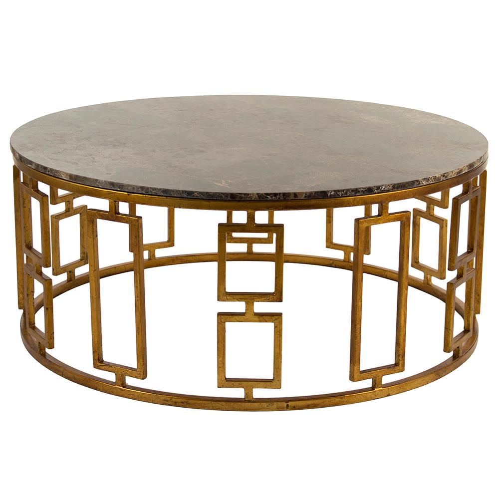 Lazar Global Bazaar Antique Brass Round Stone Coffee Table Kathy Kuo Home