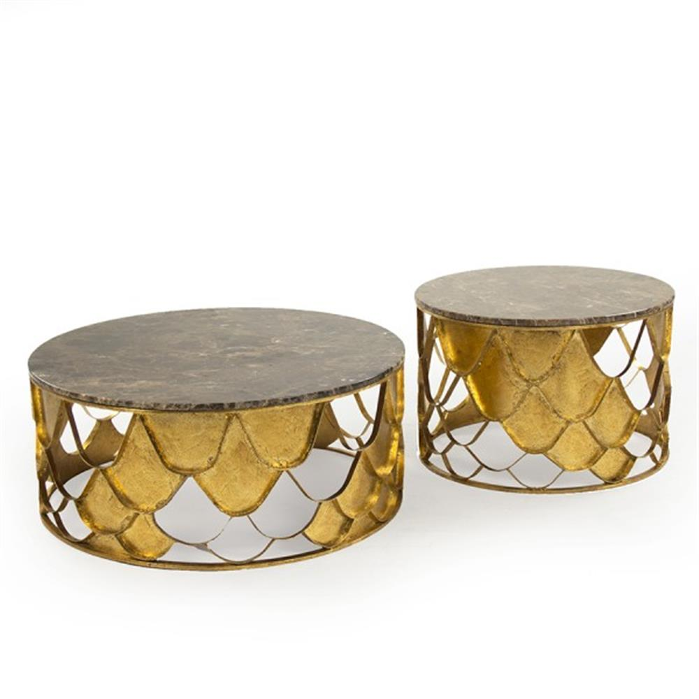 Auriel Global Bazaar Antique Gold Scale Round Coffee Table Set Of 2 Kathy Kuo Home
