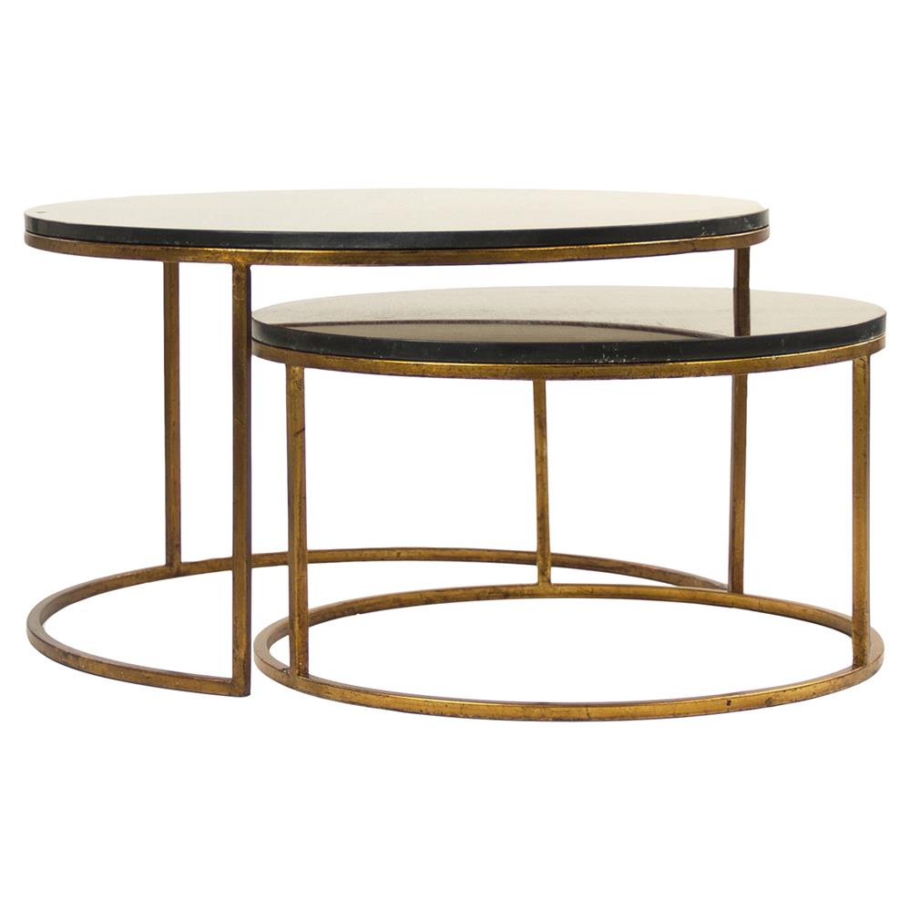 Black Coffee Table Nest: Leona Modern Black Polish Antique Gold Nest Coffee Tables