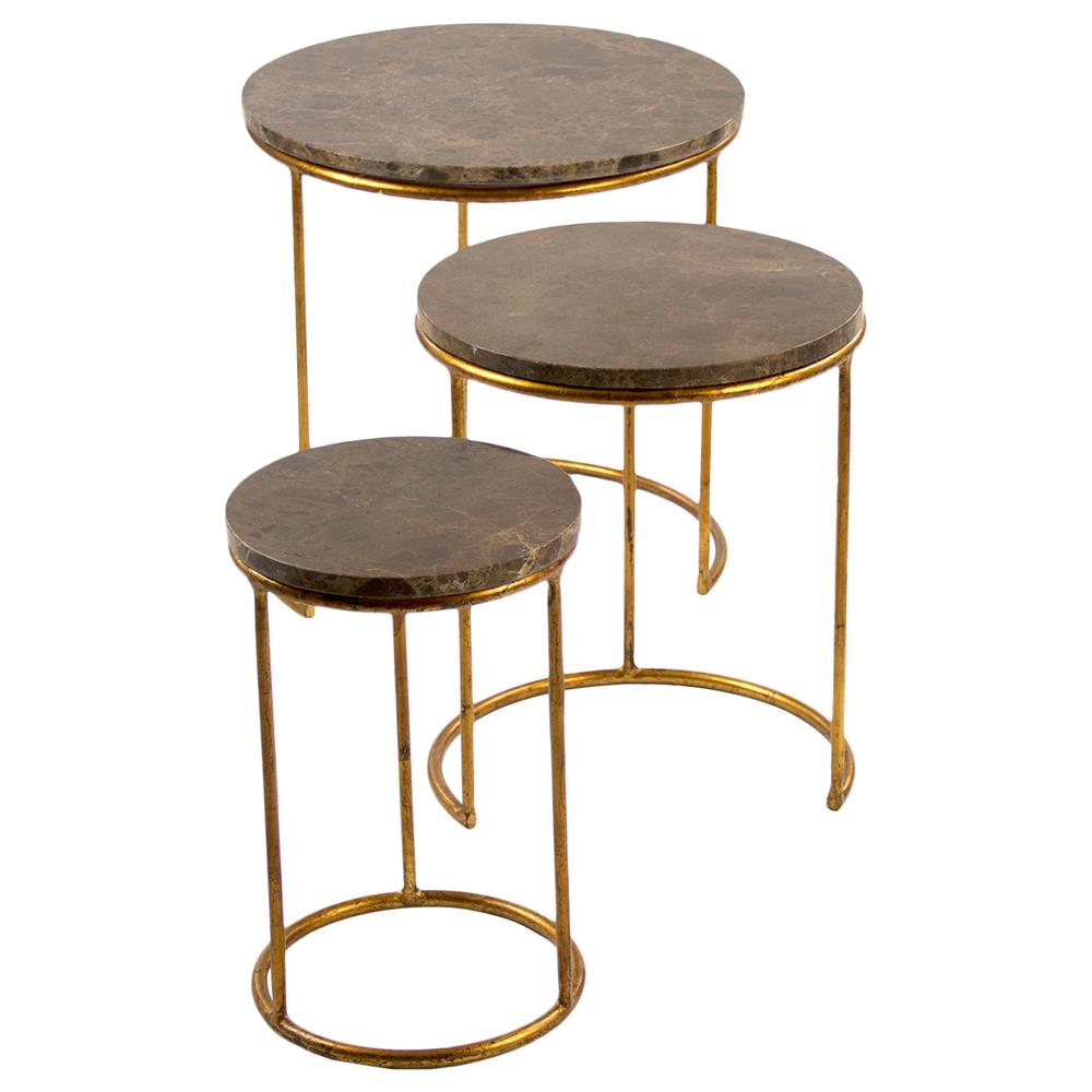 Camby Modern Classic Gold Stone Tri Step End Table Kathy
