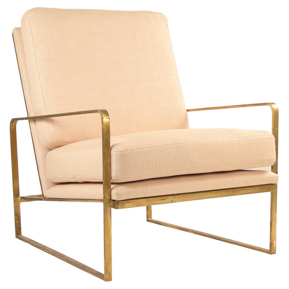 Gwynn modern classic gold metal beige arm chair kathy Modern classic chairs