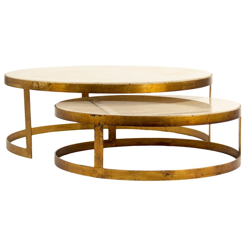 Portia Global Ivory Stone Gold Nest Round Coffee Tables Kathy Kuo Home