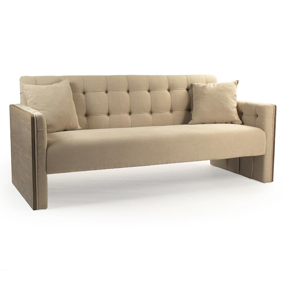 Hester Modern Classic Wood Panel Beige Tufted Sofa