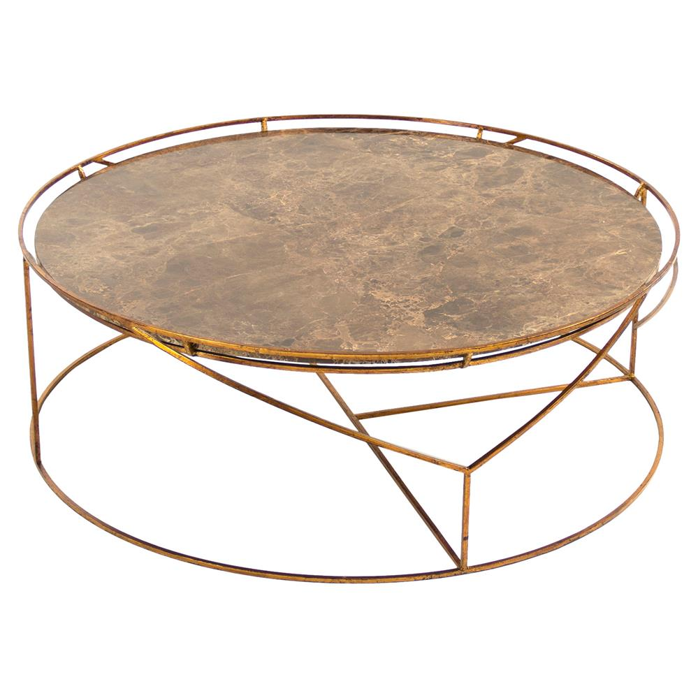 Gold Coffee Table With Stone Top: Cicely Global Inset Stone Rustic Gold Coffee Table