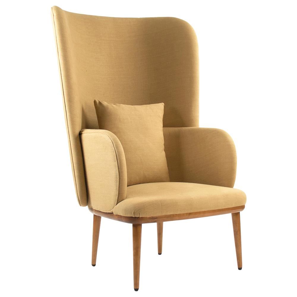 Bolton Modern Classic Dramatic Beige Wing Chair Kathy