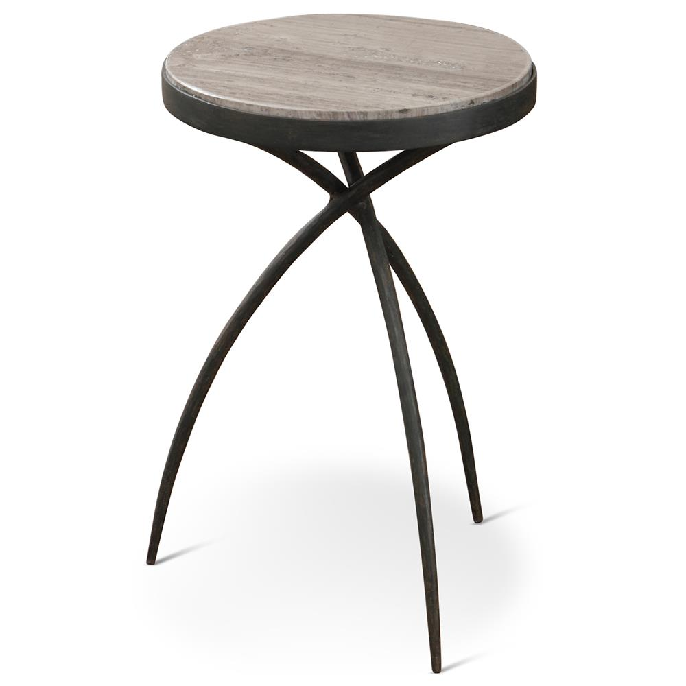 Abby Industrial Loft Grey Marble Iron Tripod End Table   14D | Kathy Kuo  Home ...