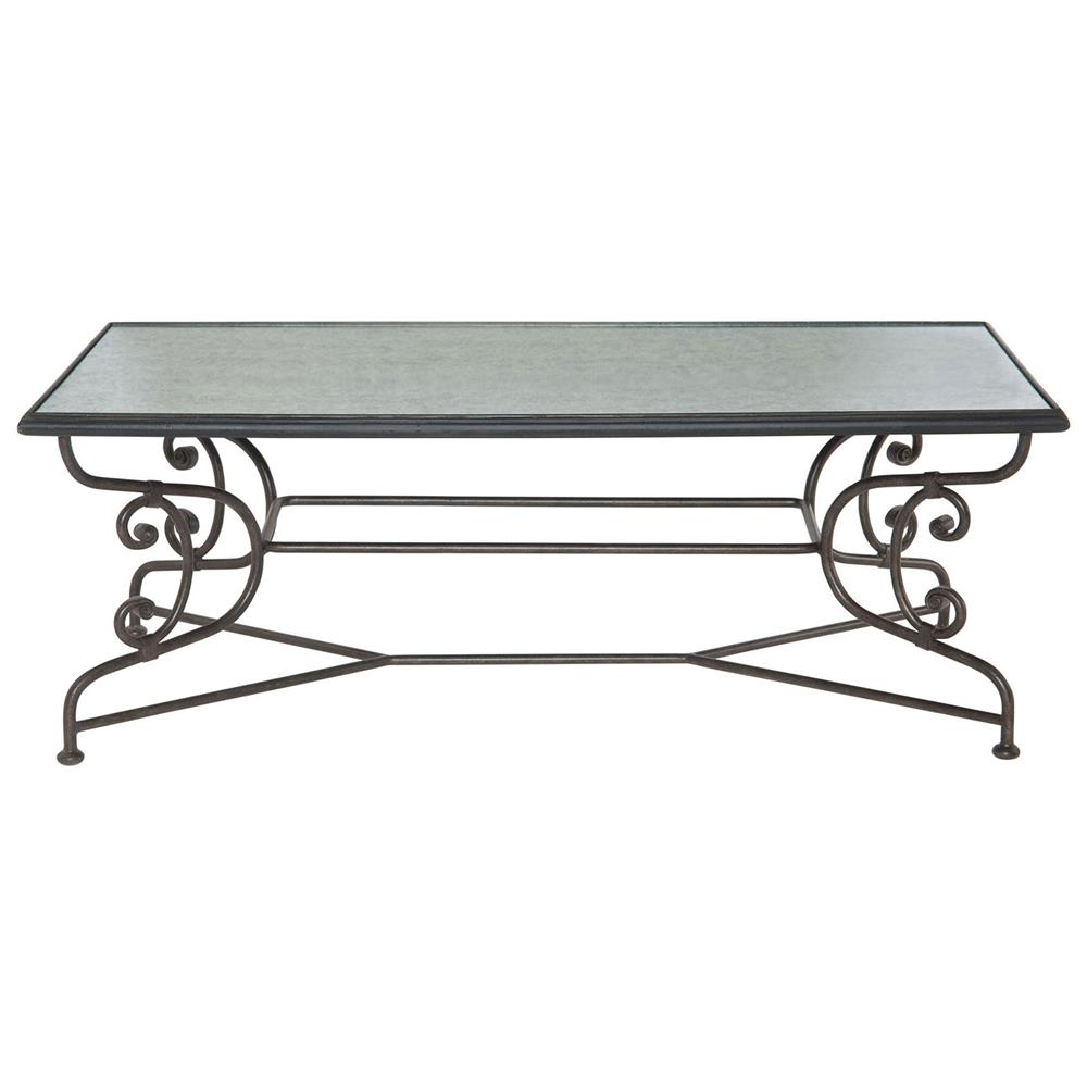 French Country Distressed Coffee Table: Elorie French Country Iron Scroll Mirrored Glass Coffee