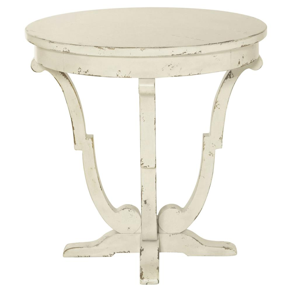 Reine french country antique white round end table kathy for White end table