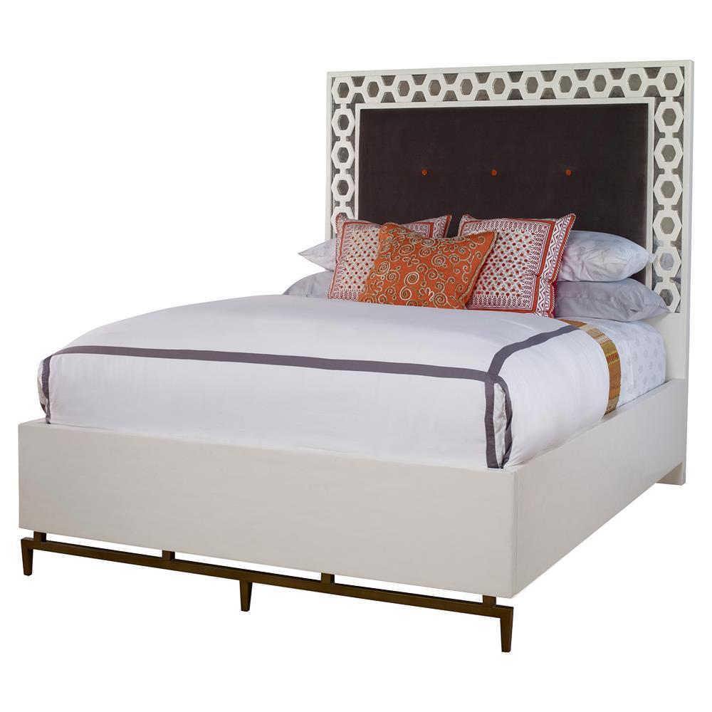 Mr. Brown Wilhelm Modern Classic White Pattern Border Velvet Bed - Queen