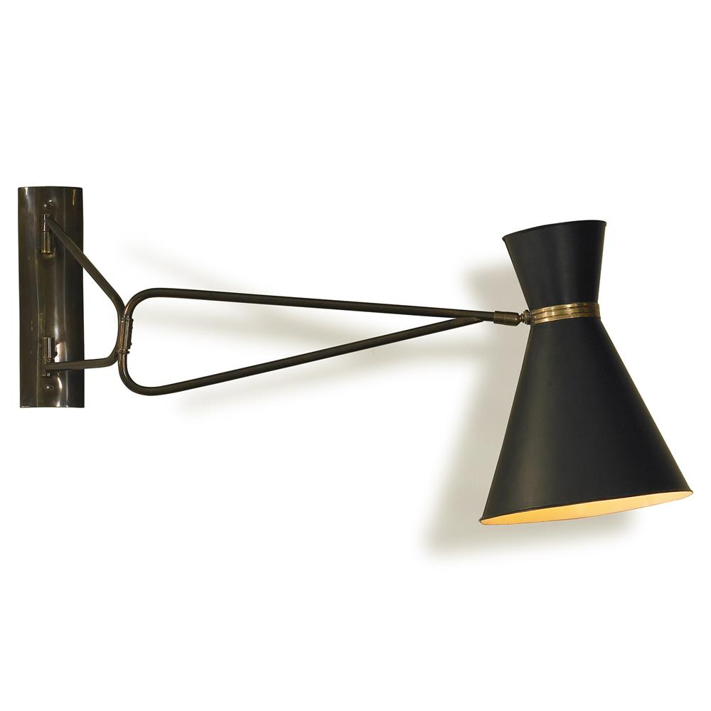 Mr Brown Bergamo Modern Mid Century Black Swing Arm Sconce Kathy Kuo Home