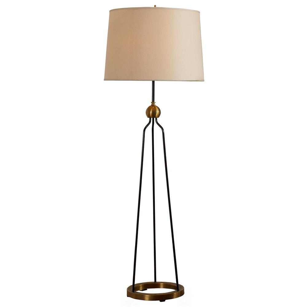 Bower Industrial Antique Brass Black Tripod Mod Floor Lamp