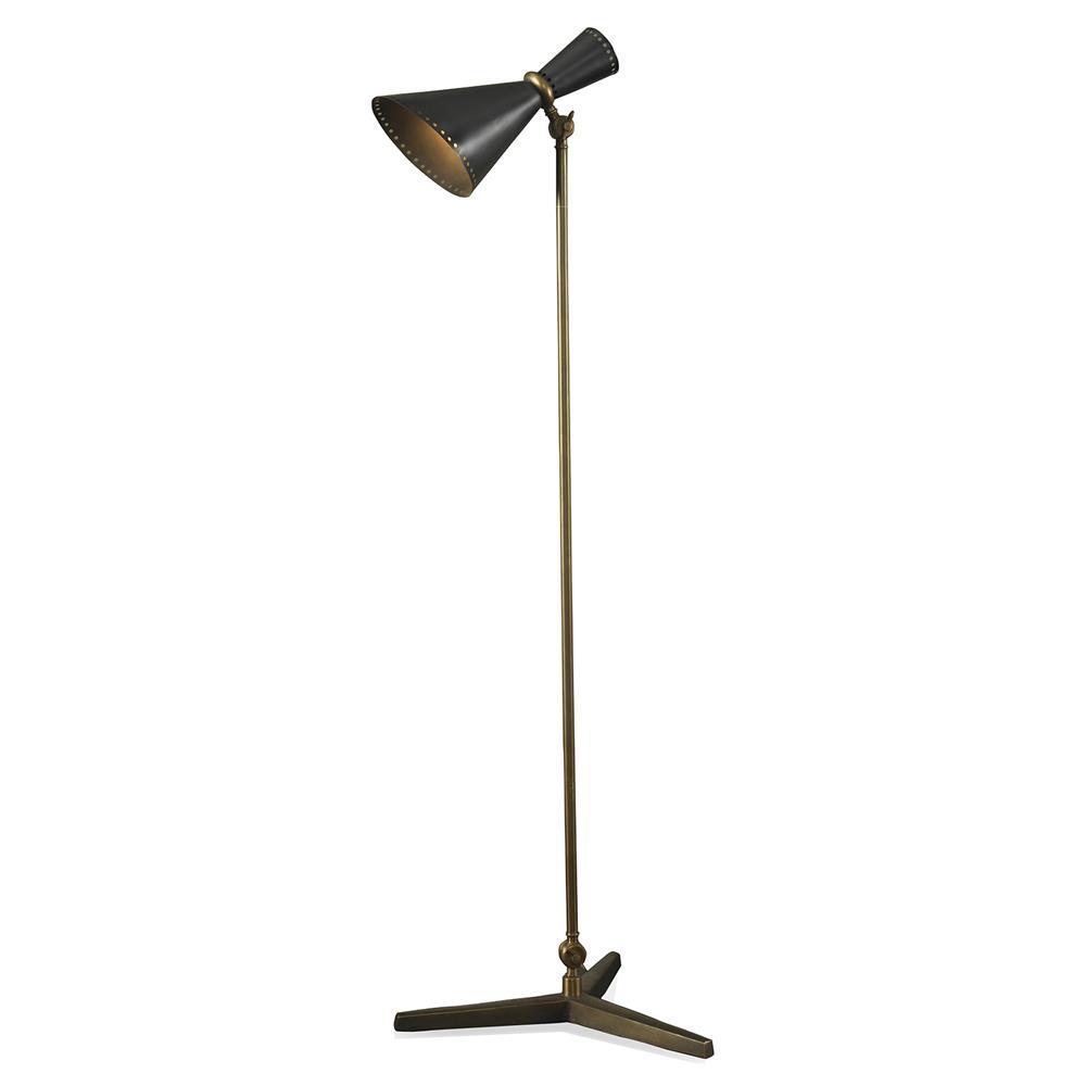 Carver Industrial Modern Mid Century Black Gold Floor Lamp