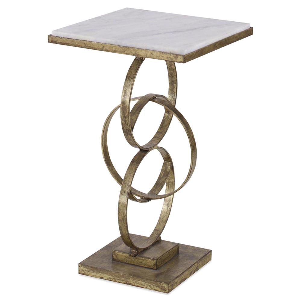 Mr Brown Colton Modern Classic Gold Interlock Marble End Table