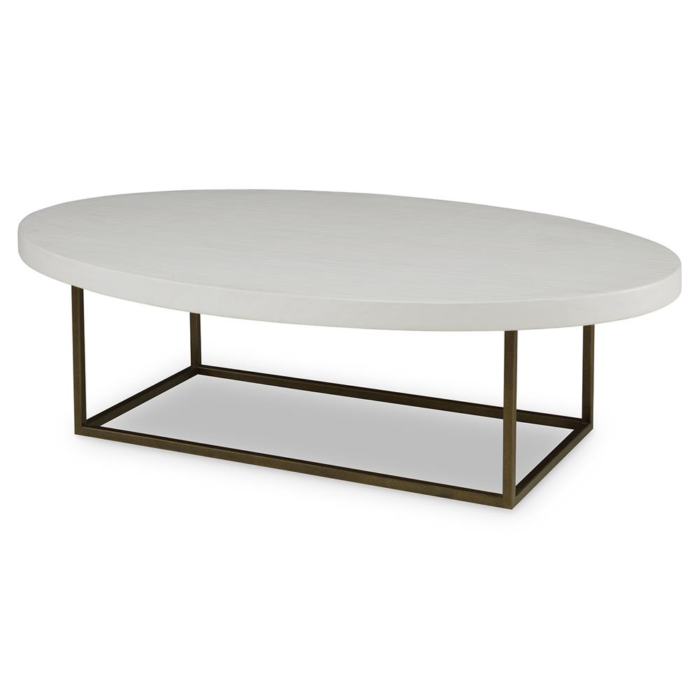 Albatross Modern White Smooth Oval Coffee Table Kathy Kuo Home