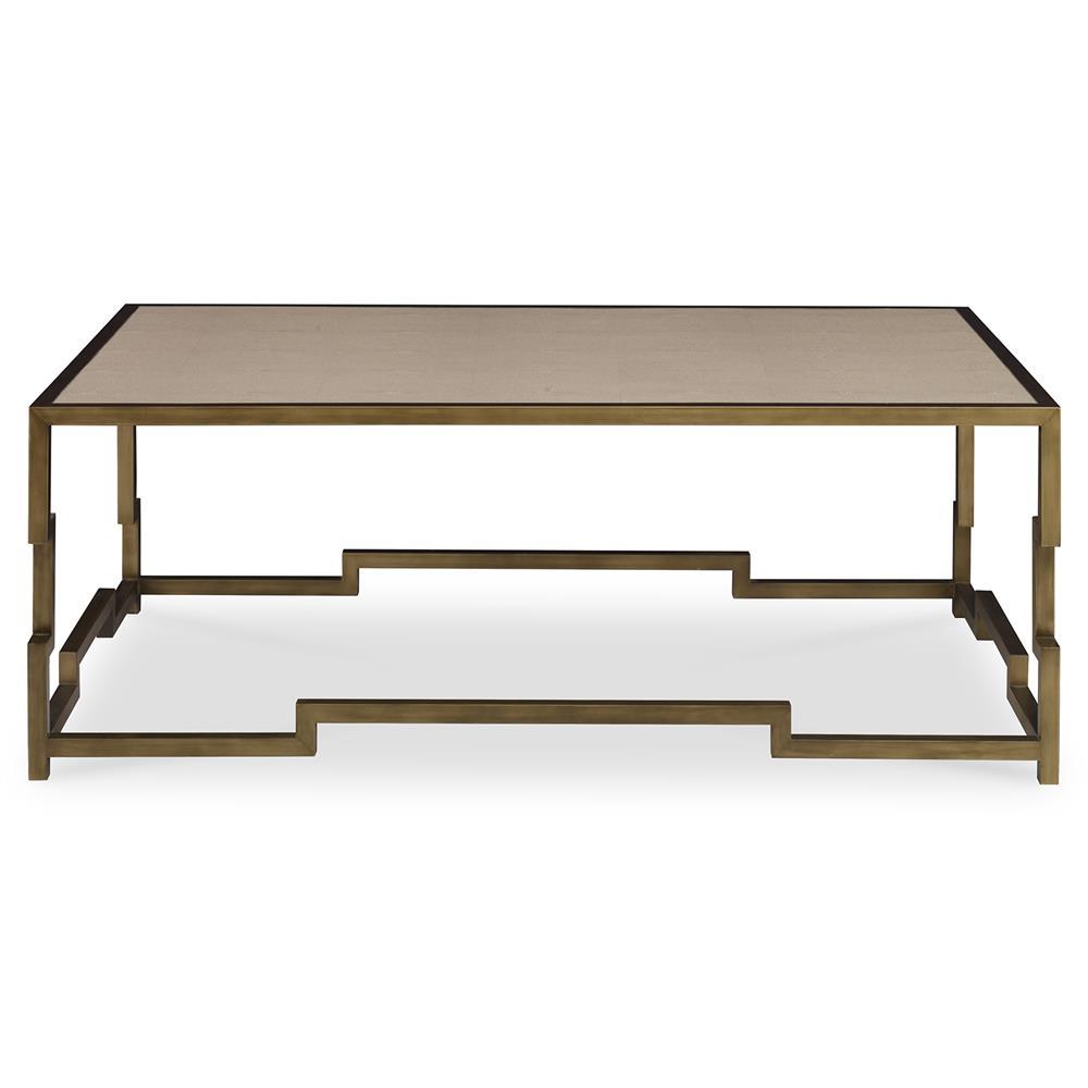 brass lattice faux shagreen vanilla coffee table kathy kuo home