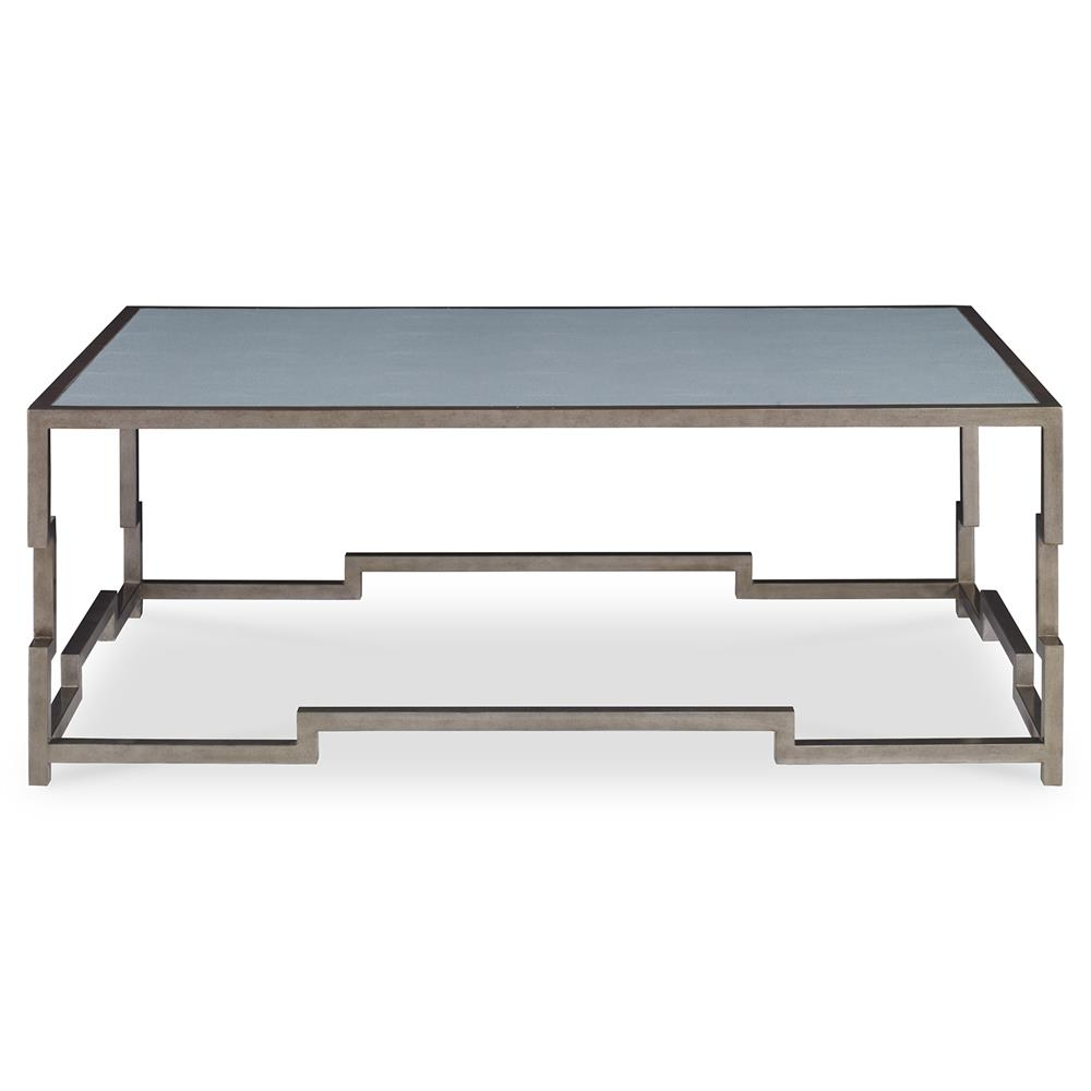 Staccato Silver Lattice Faux Shagreen Sky Coffee Table Kathy Kuo Home
