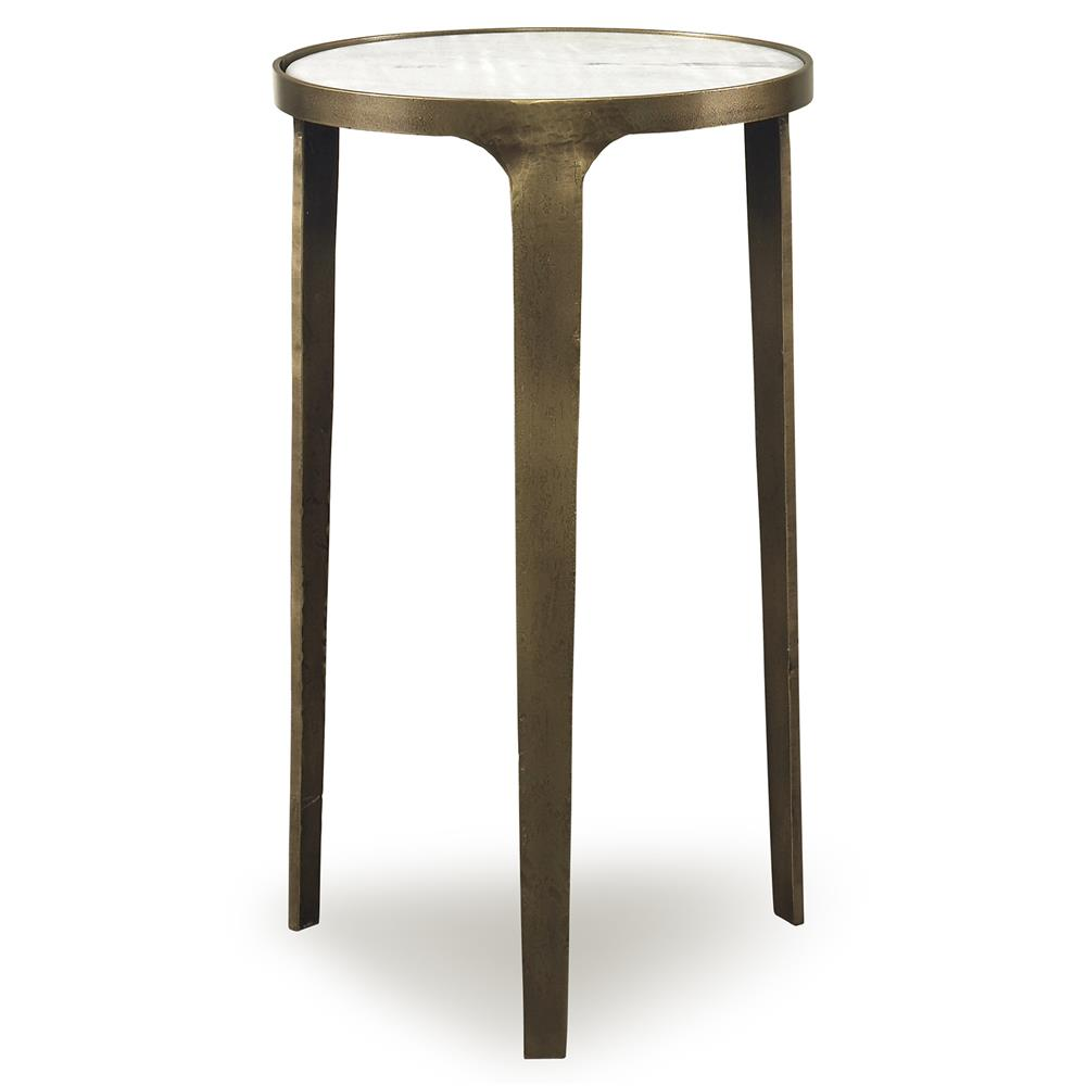 Mr Brown Skipton Modern Classic Flat Gold Marble End Table