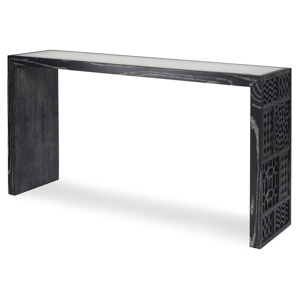 Superbe Mr. Brown Tito Console Modern Black Oak Mirror Pattern Fretwork Console  Table | Kathy Kuo ...
