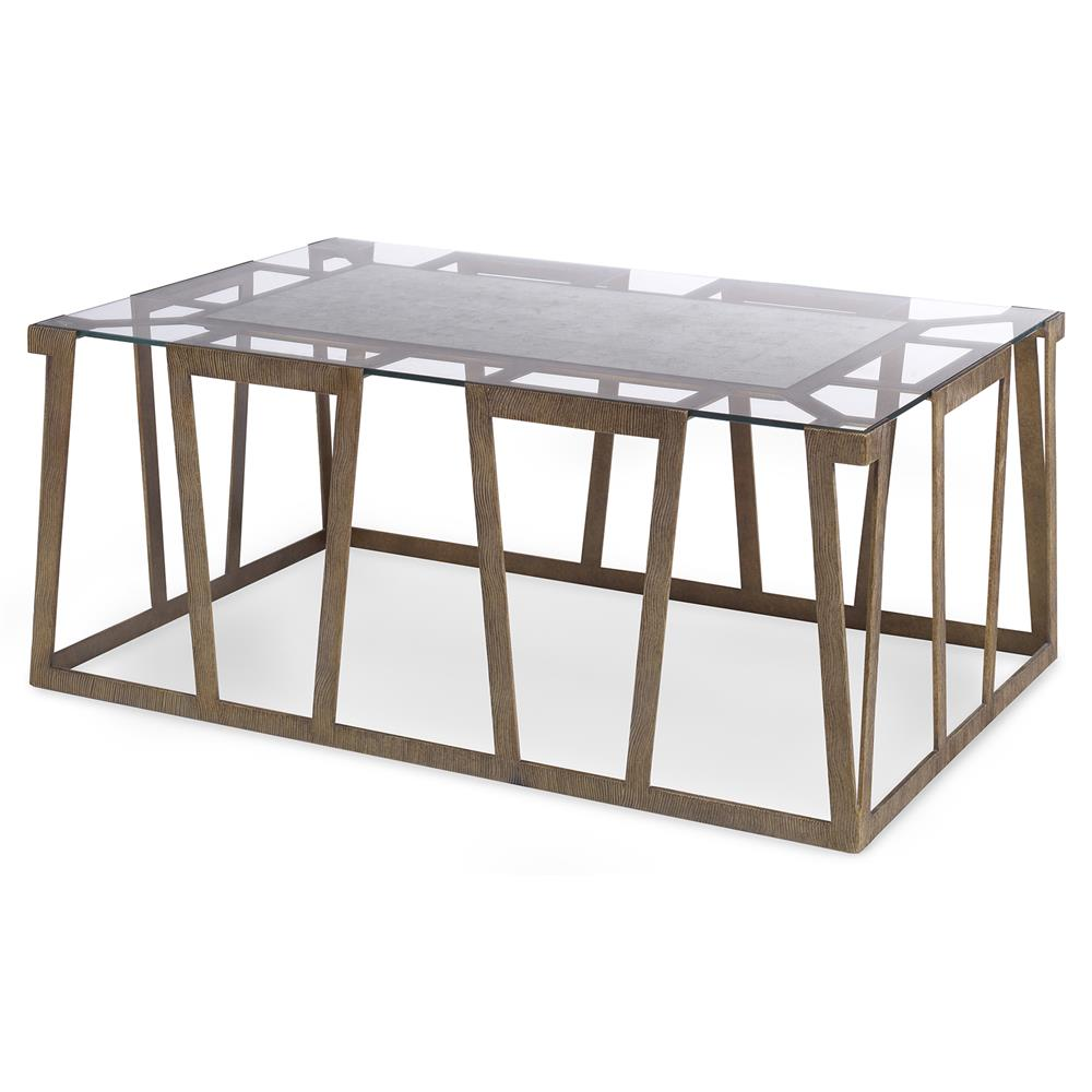 Travis Modern Classic Flat Gold Rectangle Coffee Table  Kathy Kuo Home -> Gold Rectangle Table