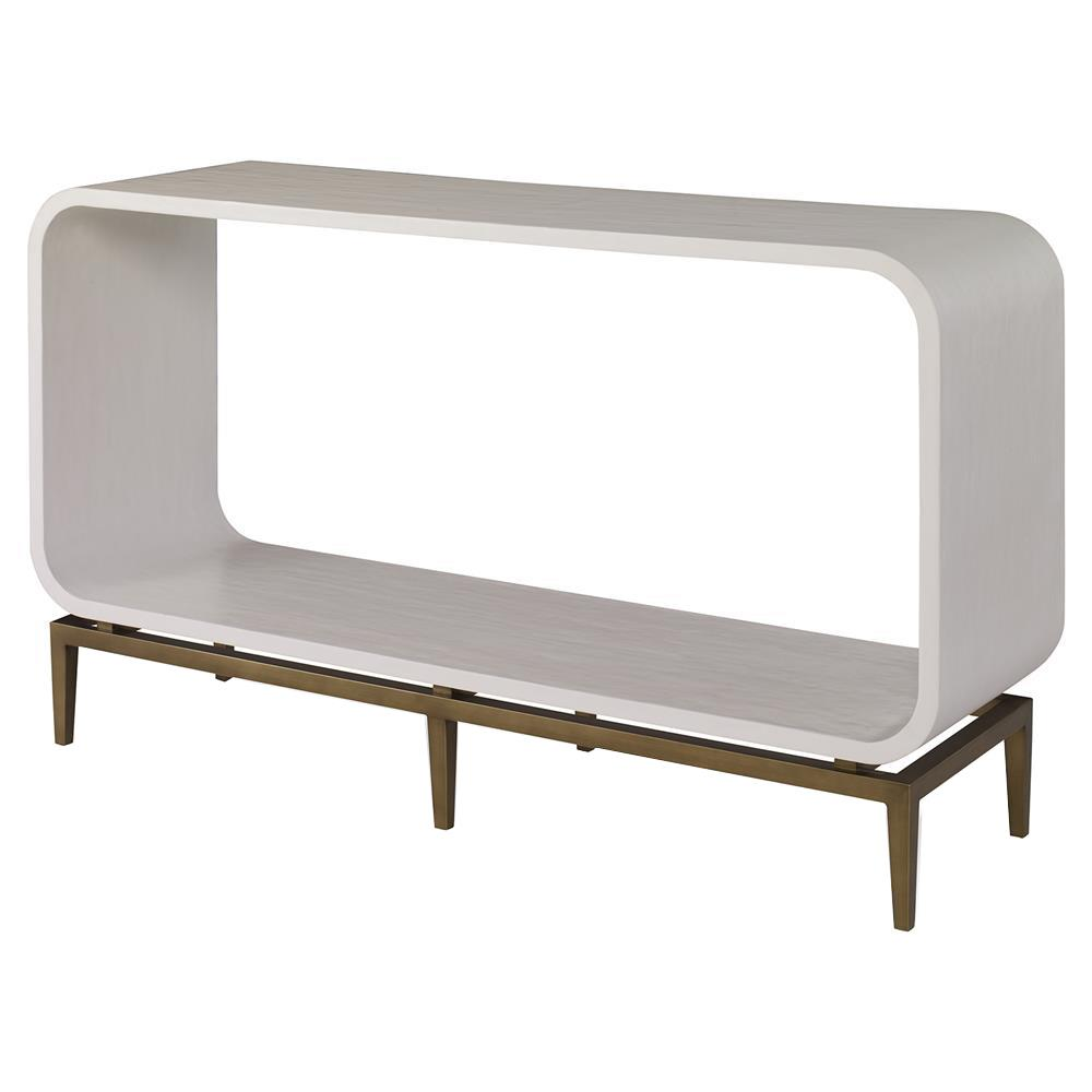Mr. Brown Wilhelm Mid Century Ivory Smooth Brass Rounded Console Table |  Kathy Kuo Home ...