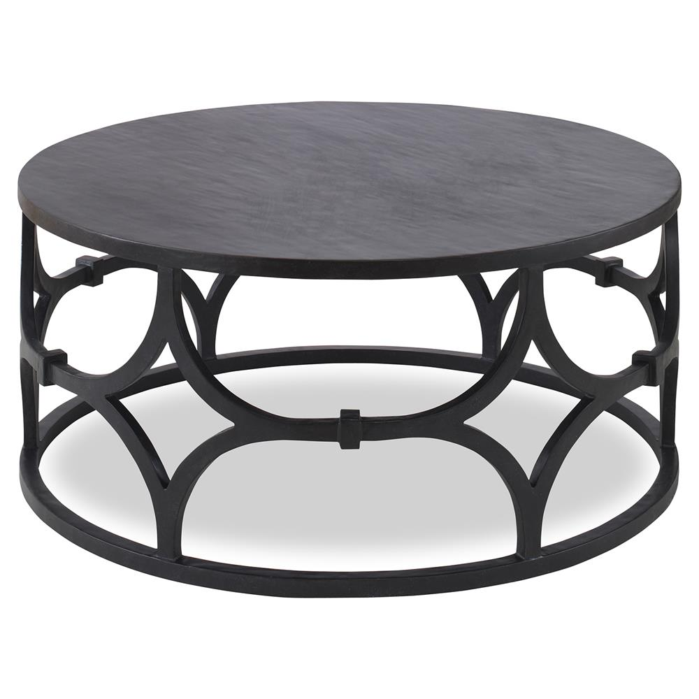 Awesome Mara Modern Classic Graphite Trellis Round Coffee Table | Kathy Kuo Home