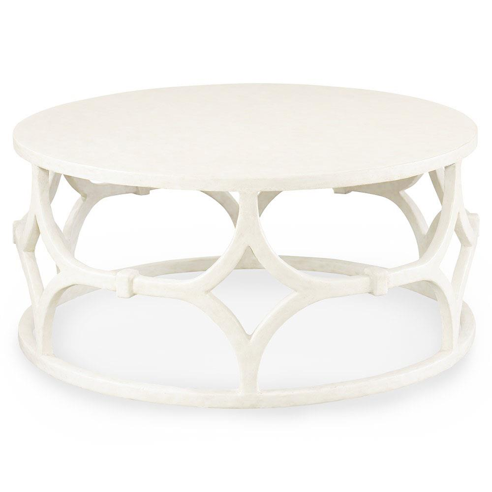 Mara modern classic white trellis round coffee table kathy kuo home Modern round coffee tables