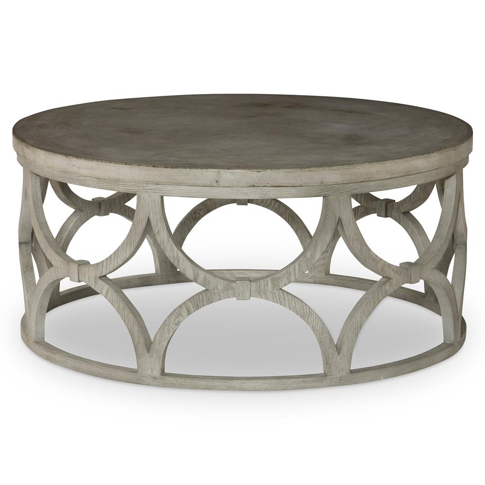 Mara Modern Slate Oak Round Outdoor Coffee Table Kathy Kuo Home