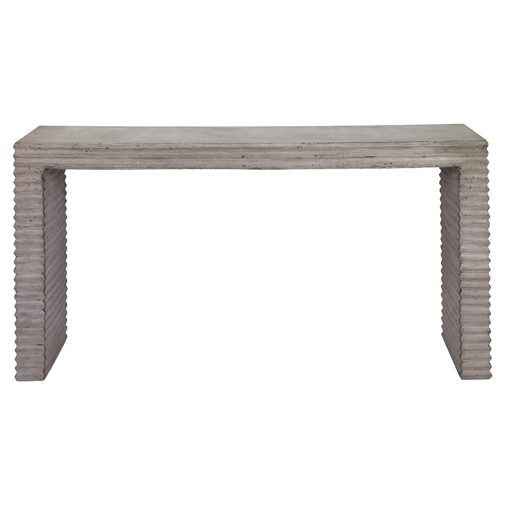 Tina industrial grey corrugated stone outdoor console for Sofa table grey