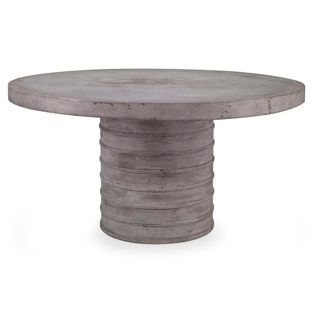 Burke industrial slate round stone outdoor dining table for Round stone top dining table