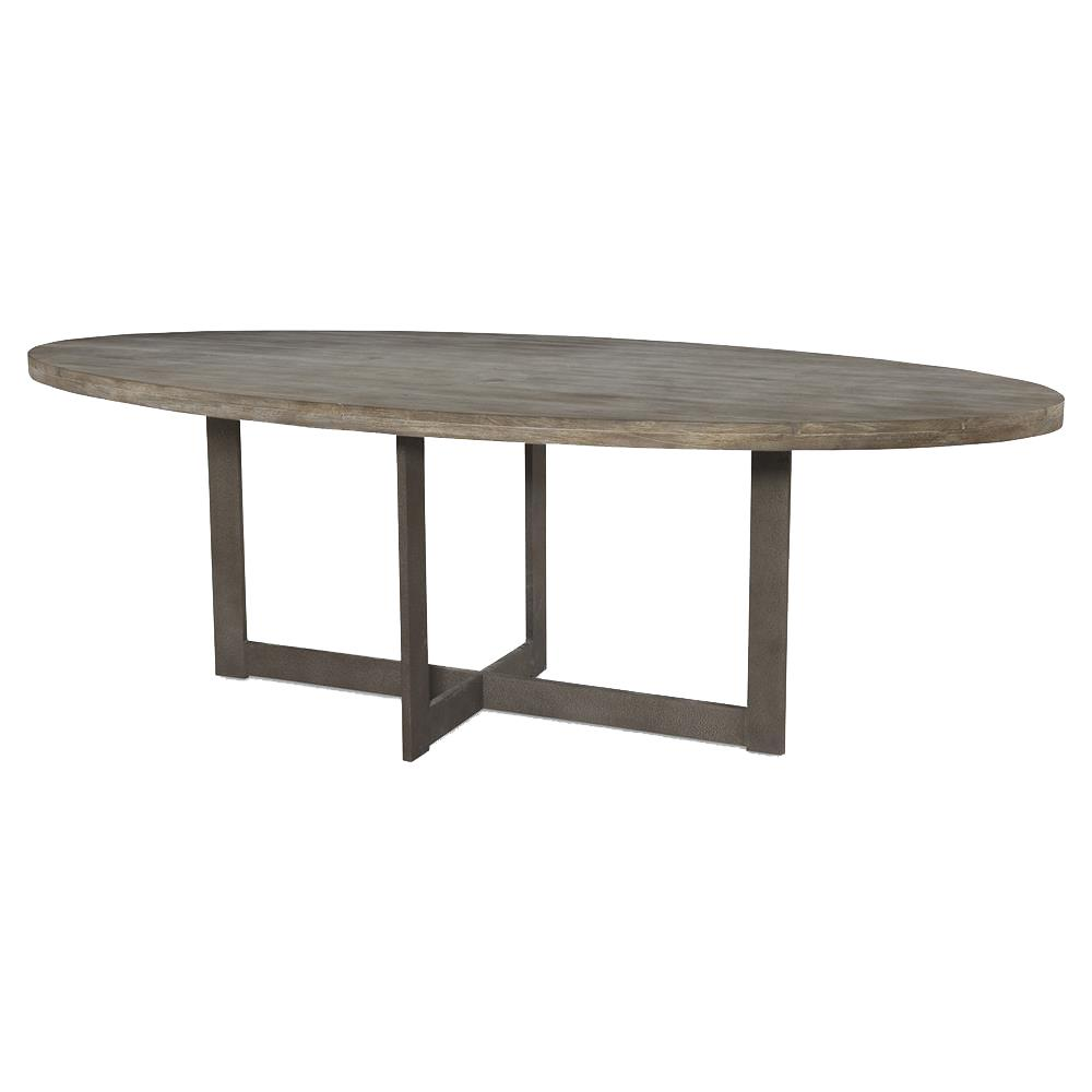Mr Brown Denmark Industrial Rustic Teak Oval Dining Table