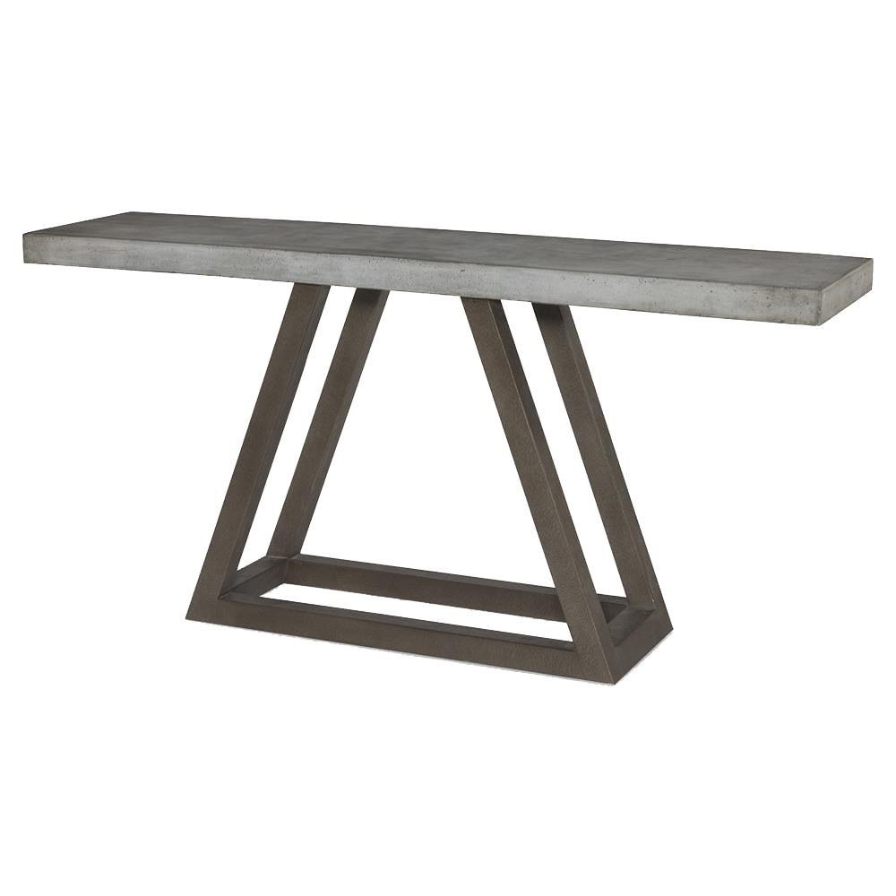 Bourne Industrial Stone Triangle Outdoor Console Table