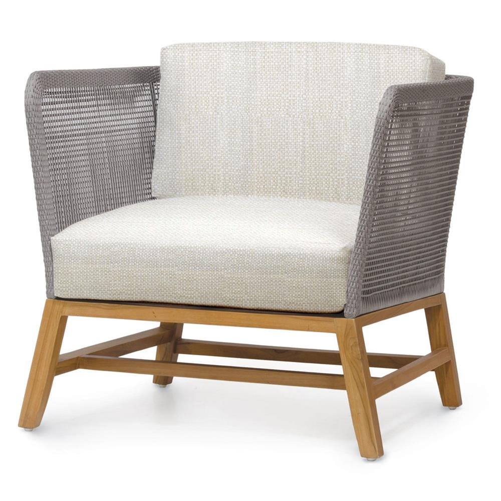 Palecek Avila Modern Grey Rope Woven Teak Outdoor Lounge Chair Natural Sand Kathy Kuo