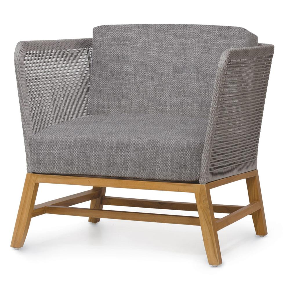 Teak outdoor lounge chairs - Serena Modern Grey Rope Woven Teak Outdoor Lounge Chair Grey Sand Kathy Kuo Home
