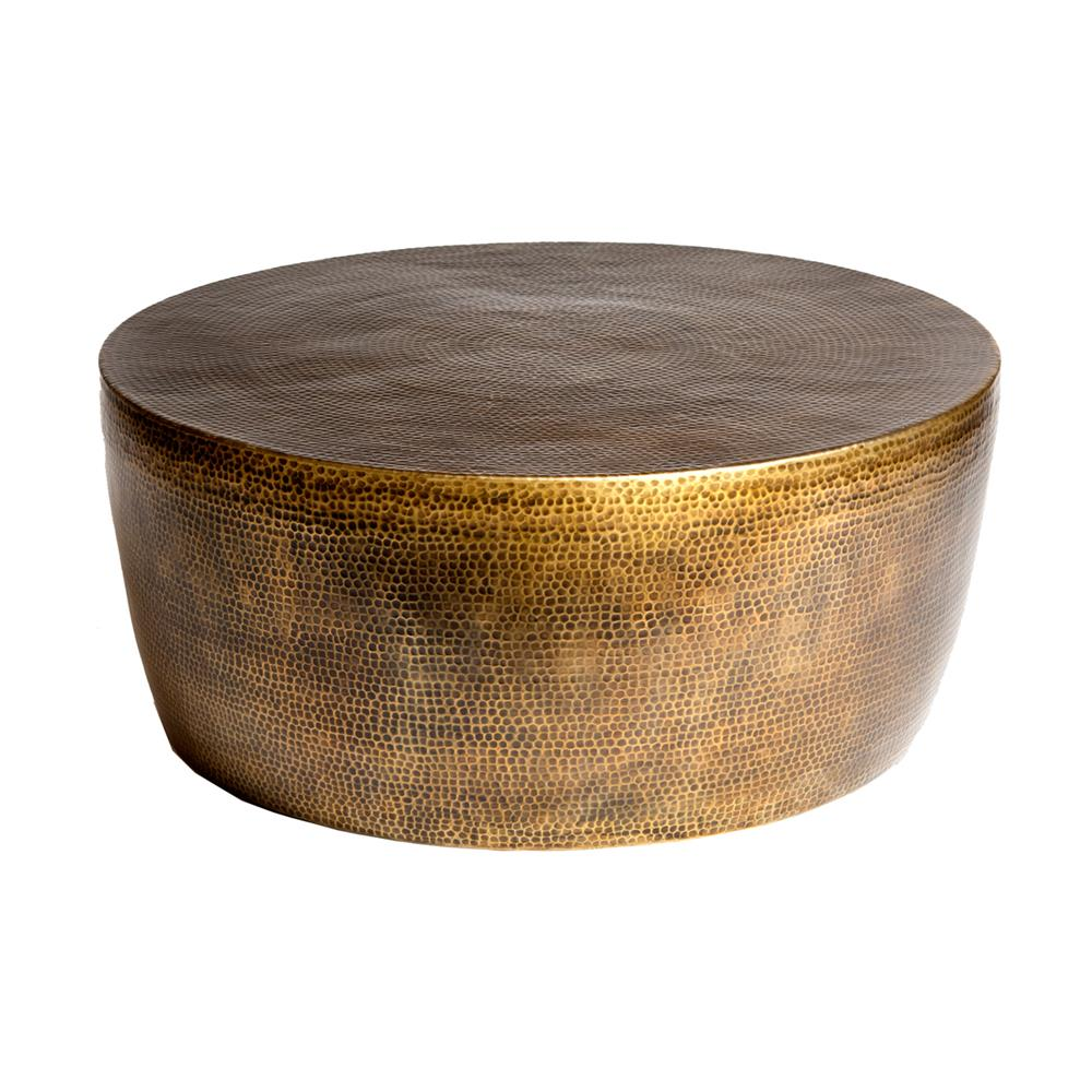 Taroudant Industrial Loft Hammered Brass Coffee Table   35D | Kathy Kuo  Home ...