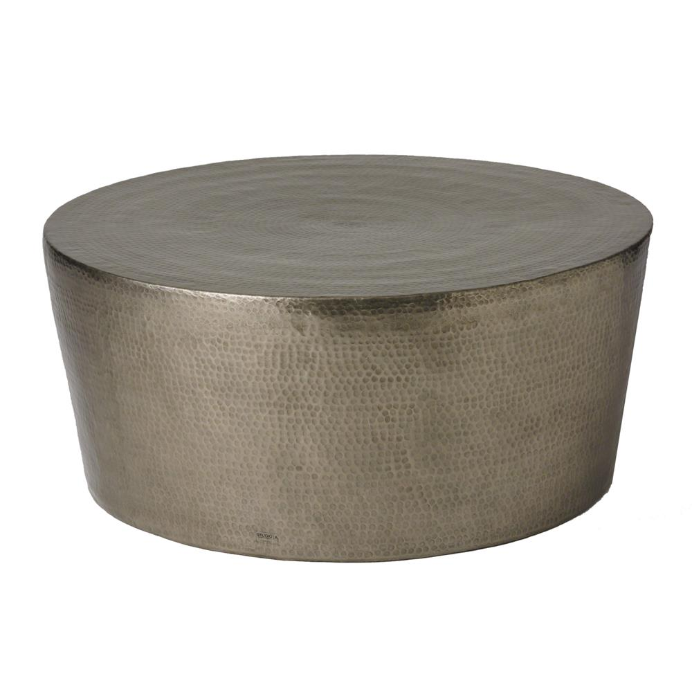 Taroudant Industrial Loft Hammered Nickel Coffee Table 48d Kathy Kuo Home