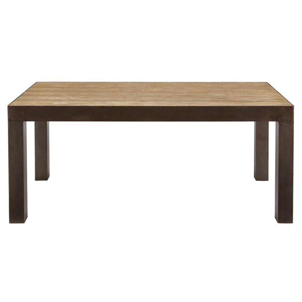 Charlotta Rustic Industrial Oak Steel Parson Dining Table