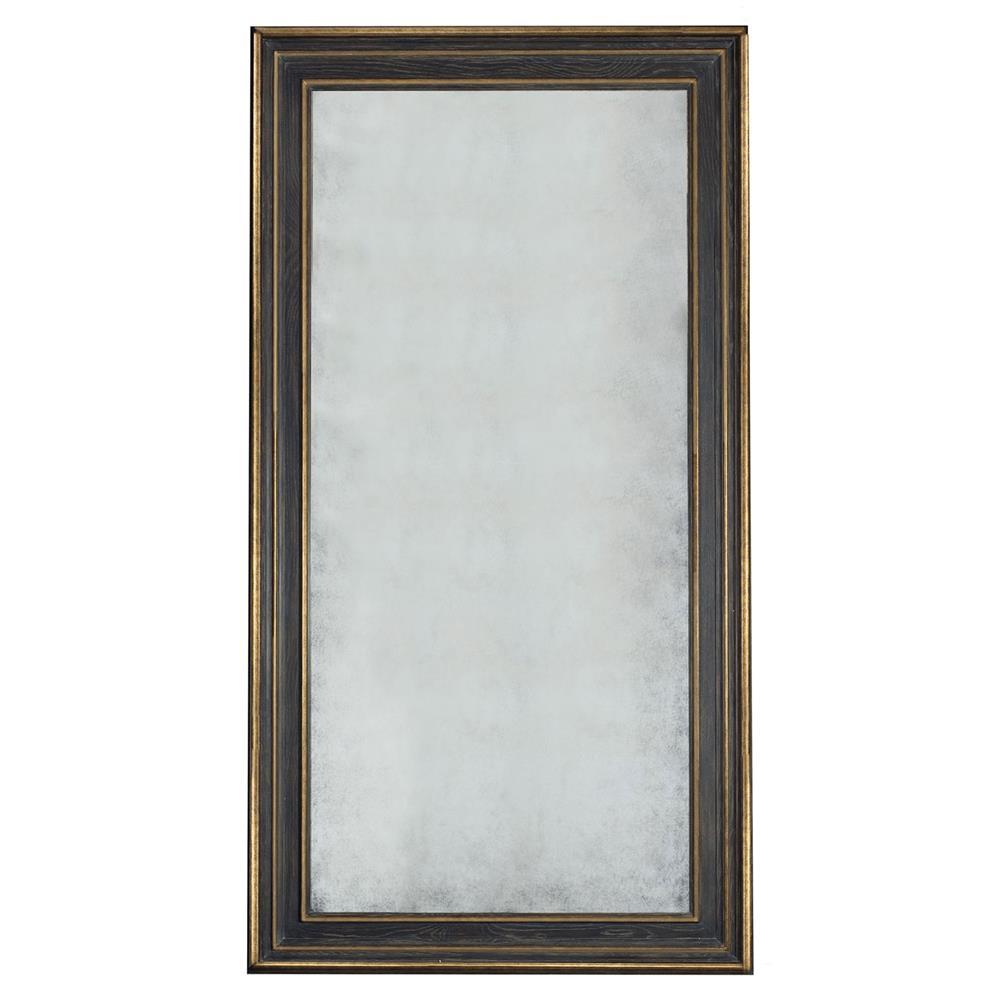 Filia french country black oak gold trim floor mirror for Gold standing mirror