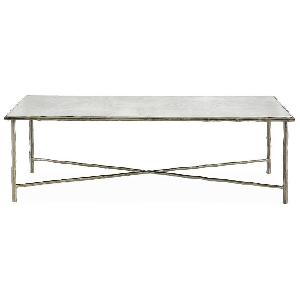 Flinn Rustic Lodge Silver Forest Metal Coffee Table Kathy Kuo Home