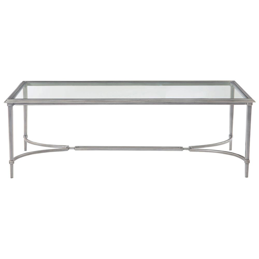Industrial Regency Antique Silver Glass Coffee Table Kathy Kuo Home