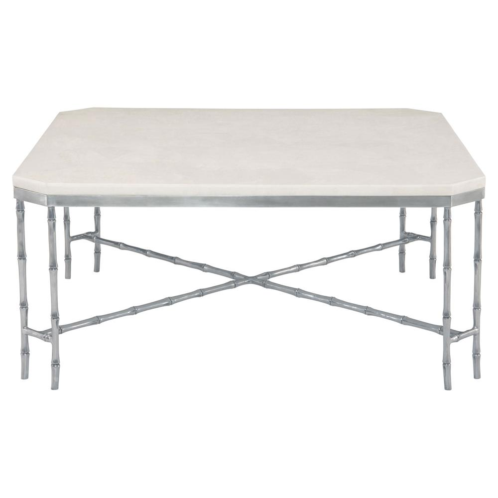 Lamar global bazaar bamboo white stone coffee table for Bizarre coffee table