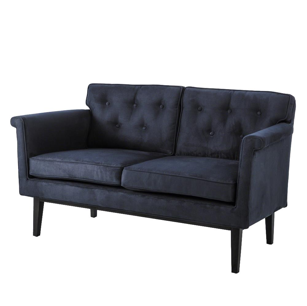 Autumn modern classic navy suede tufted loveseat kathy for Classic loveseat