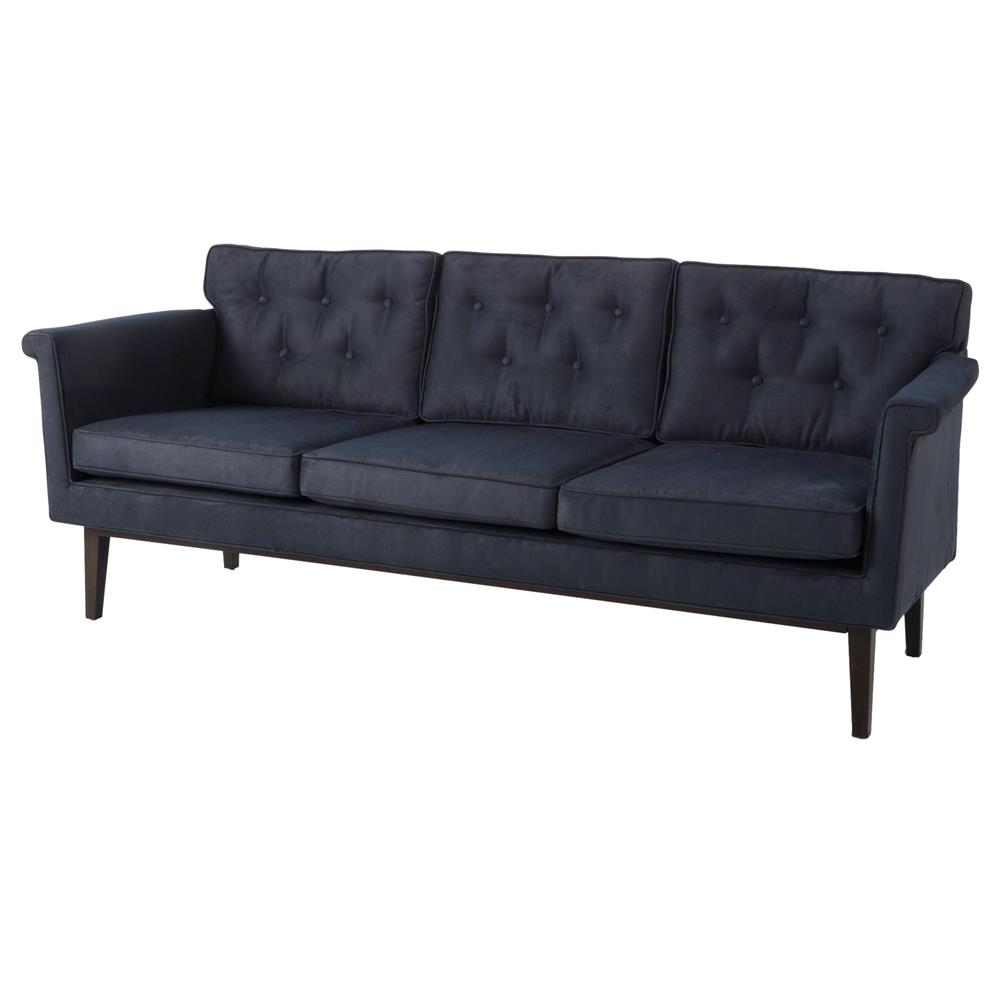Autumn modern classic navy suede tufted sofa kathy kuo home for Suede furniture