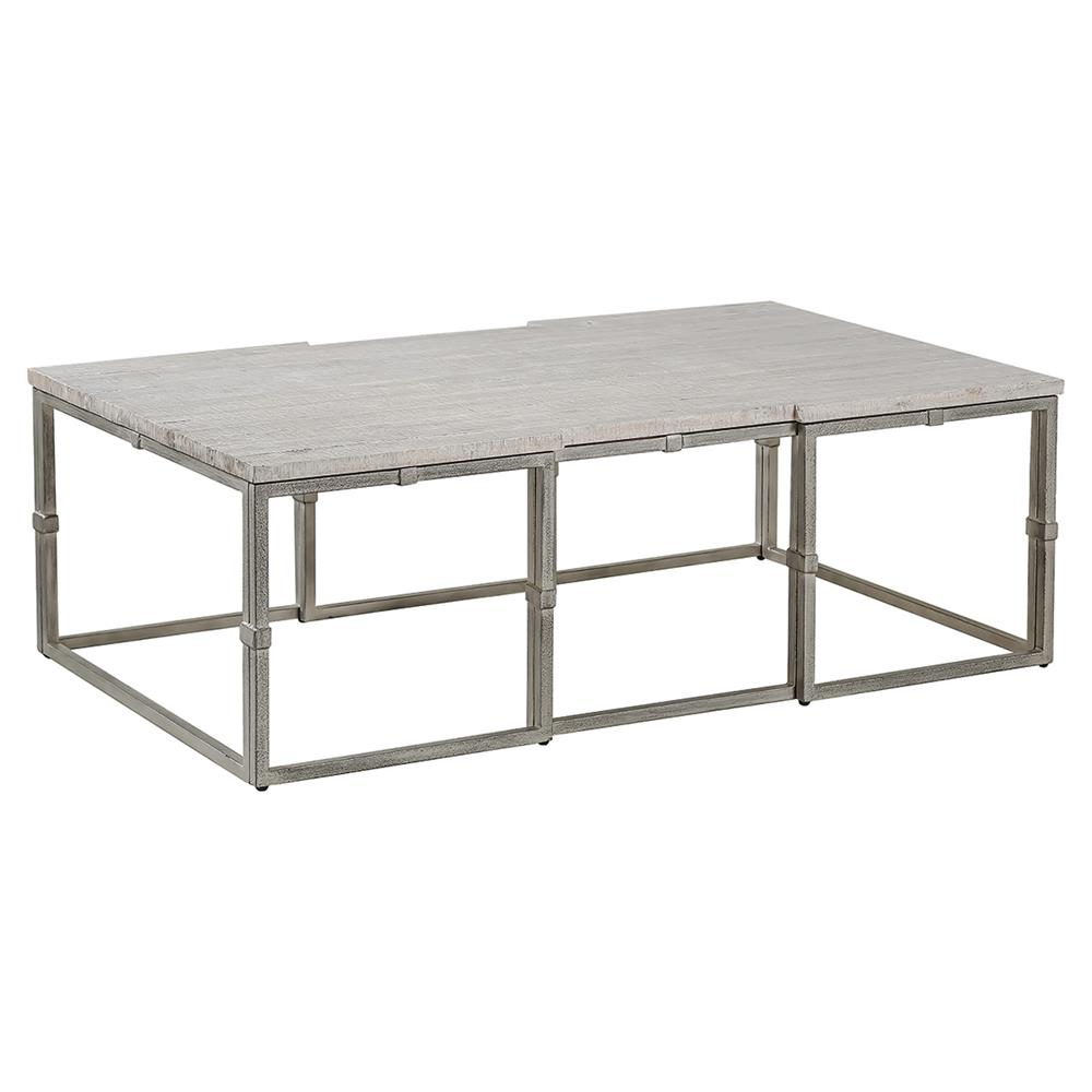 Annabel rustic grey wood brushed metal coffee table kathy kuo home Rustic wood and metal coffee table