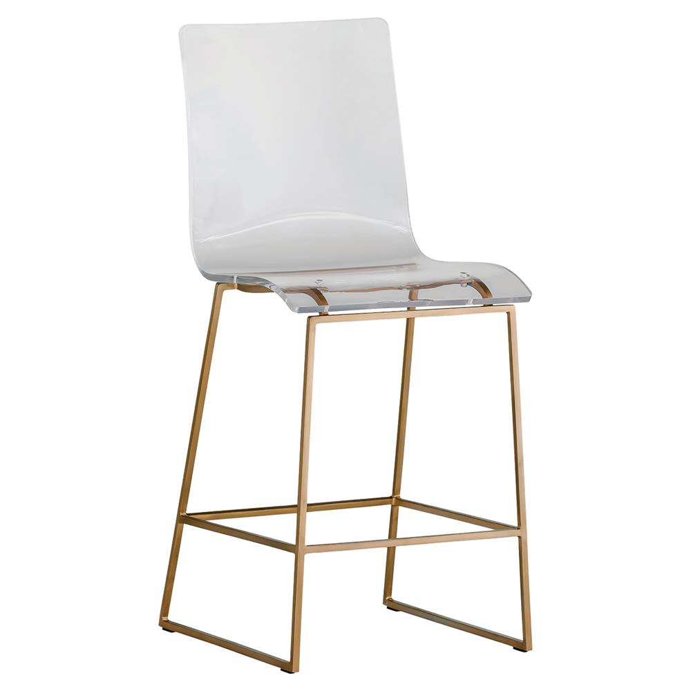 Ari modern antique gold acrylic counter stool kathy kuo home for Counter bar stools